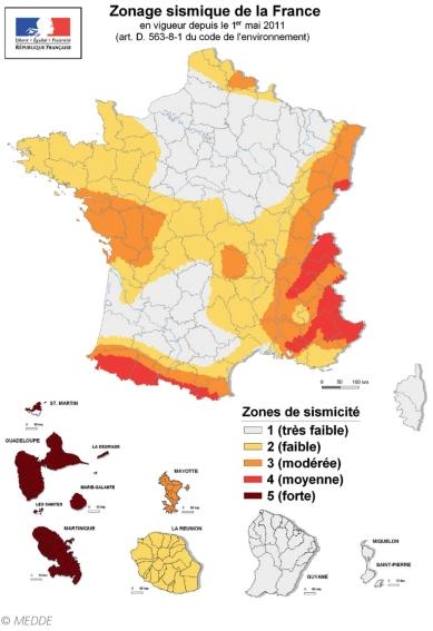 Zonage sismique de la France
